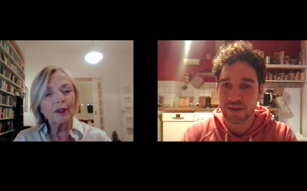 Annegret Falter vom Whistleblower-Netzwerk im Video-Call mit Felix von Flip